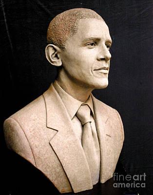 Life Size Obama Portrait Sculpture - Portrait Of President Barack Obama by Tsvetana Yvanova