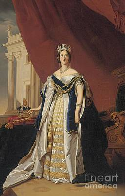 Silk Painting - Portrait Of Queen Victoria In Coronation Robes by Franz Xaver Winterhalter