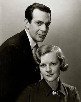 Button Down Shirt Photograph - Portrait Of Raymond Massey And Adrianne Allen by Edward Steichen