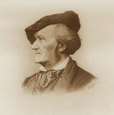 Autographed Drawing - Portrait Of Richard Wagner German by German School