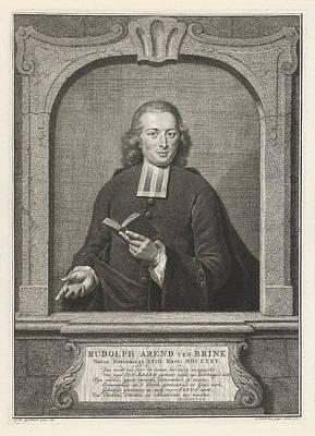 Data Drawing - Portrait Of Rudolf Arend Ten Brink, Jacob Houbraken by Jacob Houbraken And Rutger Schutte