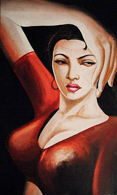 Topless Drawing - Portrait Of Seductive Girl  Posing For Photoshoot by Arun Sivaprasad