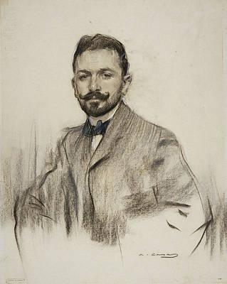 Alvarez Drawing - Portrait Of Serafin Alvarez Quintero by Ramon Casas