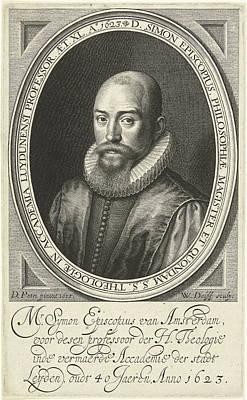 Portrait Of Simon Episcopius At The Age Of 40 Art Print by Willem Jacobsz. Delff And Dirck Pietersz. Bontepaert