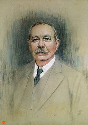 Novelist Painting - Portrait Of Sir Arthur Conan Doyle  by William Henry Gates