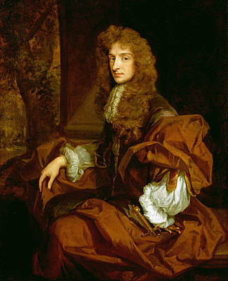 Romney Painting - Portrait Of Sir Charles Sedley 1687 by Sir Godfrey Kneller