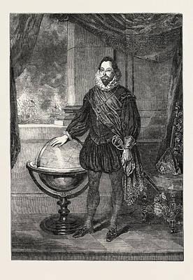 Drake Drawing - Portrait Of Sir Francis Drake Presented By Sir T by Lane, Samuel (1780-1859), English