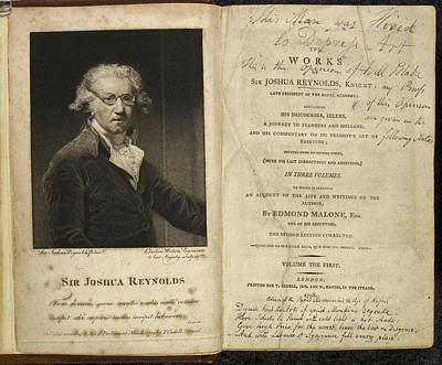Famous Book Photograph - Portrait Of Sir Joshua Reynolds. by British Library