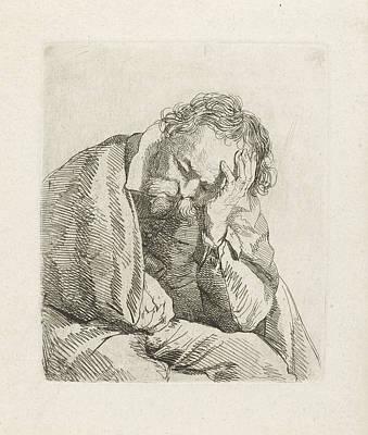 Portrait Of Sleeping Old Man, Johannes Pieter De Frey Art Print