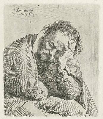Portrait Of Sleeping Old Man, Print Maker Johannes Pieter Art Print
