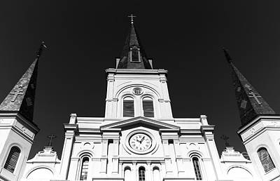 Photograph - Portrait Of St. Louis Cathedral Mono by John Rizzuto