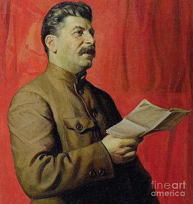 Communist Russia Painting - Portrait Of Stalin by Isaak Israilevich Brodsky