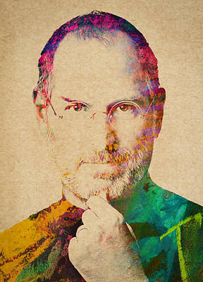 Portraits Royalty-Free and Rights-Managed Images - Portrait of Steve Jobs by Aged Pixel