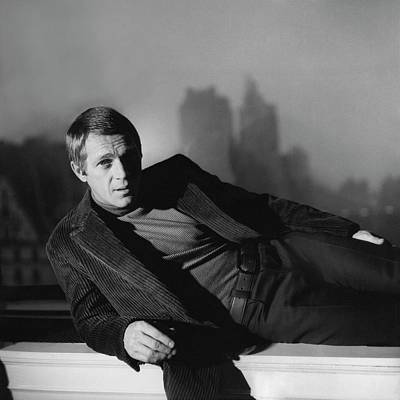 Ledge Photograph - Portrait Of Steve Mcqueen Wearing A Corduroy by Horst P. Horst