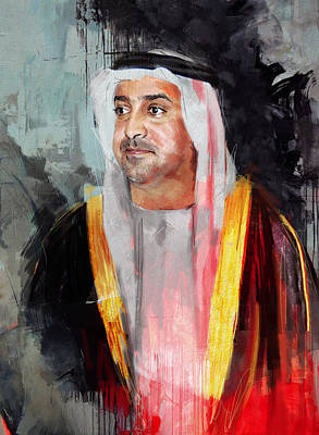 Khalifa Painting - Portrait Of Sultan Bin Khalifa Al Nahyan by Maryam Mughal