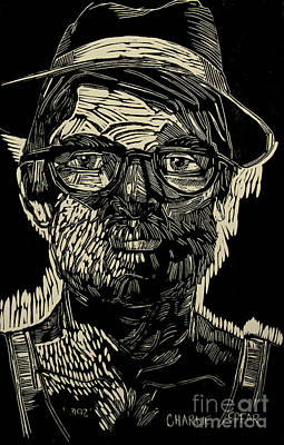 Lino-cut Painting - Portrait Of The Artist In A Fedora Final Stage by Charlie Spear