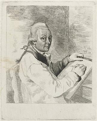 Self-portrait Drawing - Portrait Of The Artist Johannes Janson, Drawing by Louis Bernard Coclers