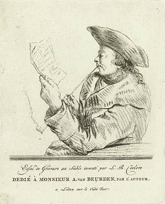 Self-portrait Drawing - Portrait Of The Artist John Janson, Louis Bernard Coclers by Louis Bernard Coclers