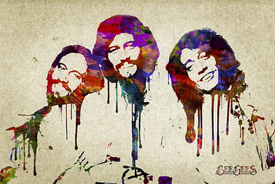 Rock And Roll Mixed Media - Portrait Of The Bee Gees by Aged Pixel