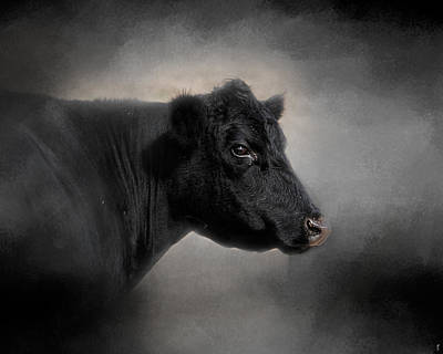 Hand Painted Photograph - Portrait Of The Black Angus by Jai Johnson