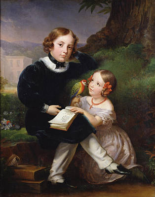 Parakeet Photograph - Portrait Of The Children Of Pierre-jean David Dangers Oil On Canvas by Marie Eleonore Godefroid