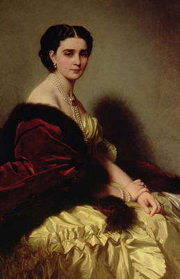 Silk Painting - Portrait Of The Countess Sophie Naryshkina by Franz Xaver Winterhalter