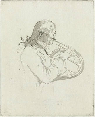 Trombone Drawing - Portrait Of The Hornist Pelting, Louis Bernard Coclers by Louis Bernard Coclers