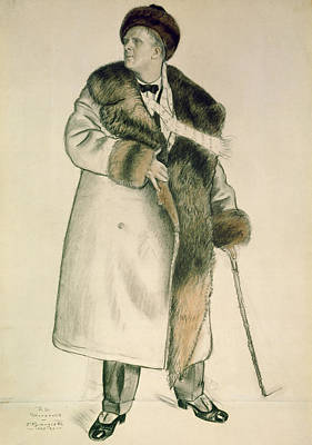 Gentleman Drawing - Portrait Of The Opera Singer Feodor Ivanovich Chaliapin by Boris Mihajlovic Kustodiev