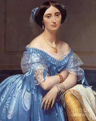 Silk Painting - Portrait Of The Princesse De Broglie by Jean Auguste Dominique Ingres