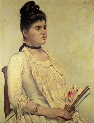 Silk Painting - Portrait Of The Step Daughter by Giovanni Fattori