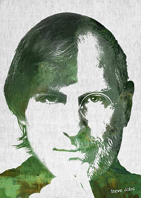Portrait Of The Young And Old Steve Jobs  Art Print by Aged Pixel