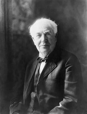 Edison Photograph - Portrait Of Thomas Edison by Underwood Archives