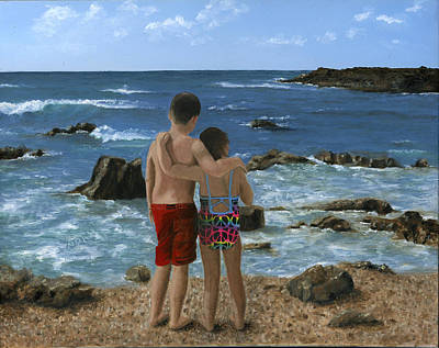 Portrait Of Two Children At Beach Art Print
