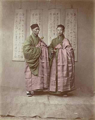 Portrait Of Two Chinese Buddhist Monks With Rosary Art Print