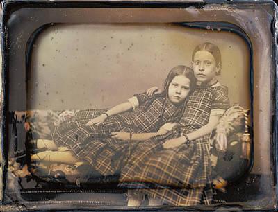 Portrait Of Two Girls Reclining On Chaise Lounge Sheldon K Art Print