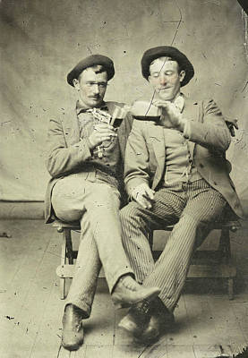 Portrait Of Two Men, One Of Whom Gave Another Drink Art Print