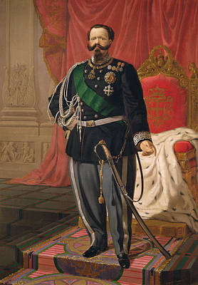 Portrait Of Victor Emmanuel II Of Italy Oil On Canvas Art Print by Cesare Campini