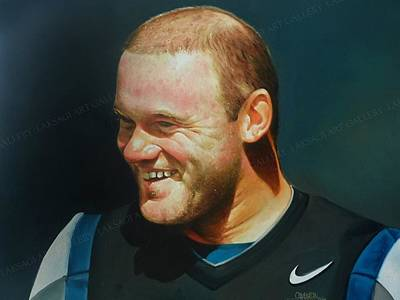 Wayne Rooney Wall Art - Painting - Portrait Of Wayne Rooney Oil On Canvas  by Rajasekharan Parameswaran