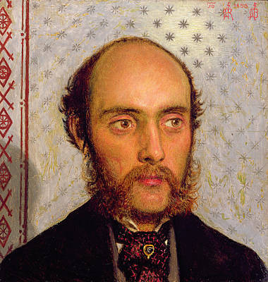 Portrait Of William Michael Rossetti 1829-1919 By Lamplight, 1856 Panel Art Print by Ford Madox Brown