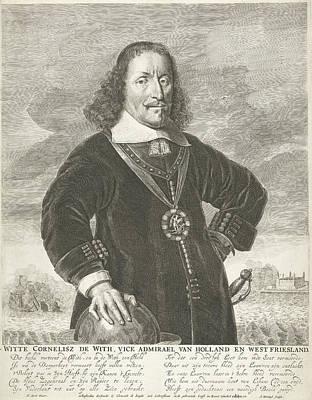 Lapel Drawing - Portrait Of Witte Cornelisz De With, Abraham Bloteling by Abraham Bloteling And Simon De Vlieger And Clement De Jonghe