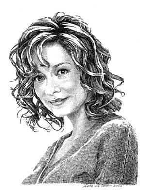 Portrait Of Woman. Stippling In Ink. Art Print