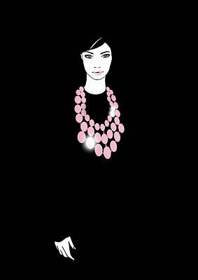 Digital Art - Portrait Of Woman Wearing Pink Necklace by Susan Hassmann