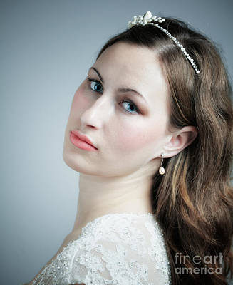 Serious Facial Expression Photograph - Portrait Of Young Bride by Gabriela Insuratelu