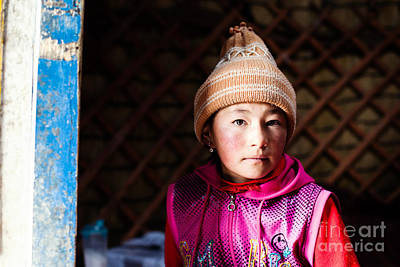 China Photograph - Portrait Of Young Kyrgyz Girl Inside A Yurt China by Matteo Colombo