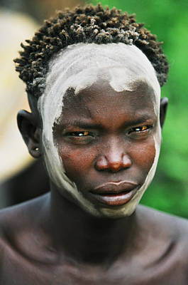 Portrait Of Young Mursi Man Wearing Art Print by Alberto Arzoz