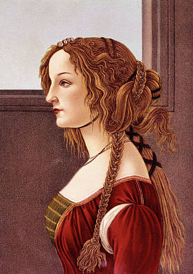 Elaborate Painting - Portrait Of Young Woman By Botticelli by Vintage Images