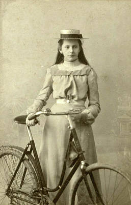 Portrait Of Young Woman In Dress With Ladies Bike Art Print