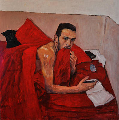 Portrait On Bed Art Print by Roberto Del Frate