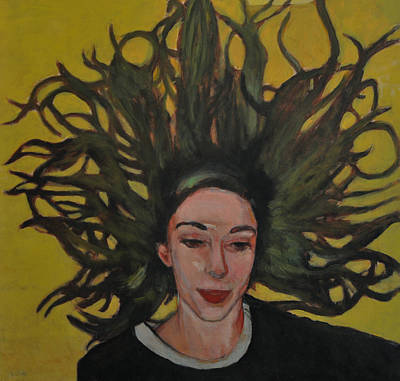 Portrait On Yellow Art Print by Roberto Del Frate