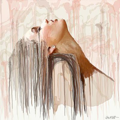 Portrait Study Mixed Media - Portrait Painting - Rain by Robert Wheater
